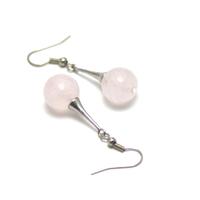 """boucle d'oreille quartz rose """" perle ronde facettée 12 mm-lustre"""""""
