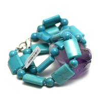 "Collier turquoise "" rectangle -ronde 8 mm"""