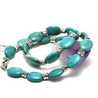 """collier turquoise """"palet ovale - perle argenté tibétain """""""