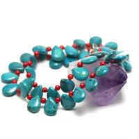"""collier turquoise-corail /bambou de mer """"goutte d'eau horizontal"""""""