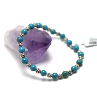 """Bracelet turquoise """" perle ronde 6 mm -perle argentée"""""""