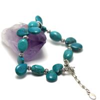 """bracelet turquoise """" goutte d'eau horizontale - perles argentées"""""""