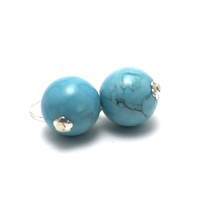 "Boucle d'oreille turquoise "" ronde 12 mm"""