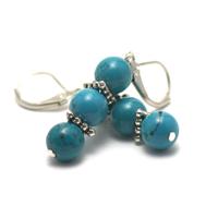 """boucle d'oreille turquoise """"triple perles rondes - perles argentées"""""""