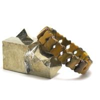 """bracelet oeil du tigre, plaquette  """" noeud de papillon"""""""