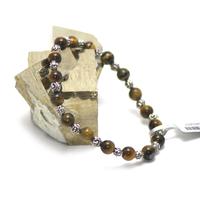 """bracelet oeil du tigre """"perle ronde 6 mm - perle argenté"""""""