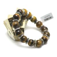 """bracelet oeil du tigre """" perle ronde 12 mm - perle argentée"""""""