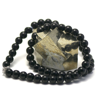 """Collier Onyx , """"perle ronde 8 mm"""""""