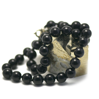 """Collier onyx , """" perle ronde 10 mm """""""