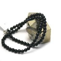 """Collier onyx , """"perle ronde facettée 6 mm """""""
