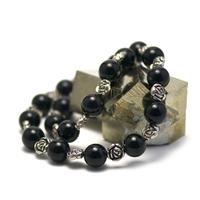 """collier onyx, """" perle ronde 12 mm - perle argenté fleur """""""