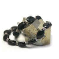 "collier onyx , "" perle palet oval -perle argentée """