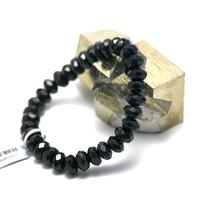 """bracelet onyx , """" perle rondelle facettée """""""