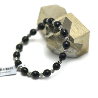 """bracelet onyx , """" perle ronde facettée 8 mm - perle argentée"""""""