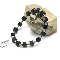 """bracelet onyx , """"perle cube - perle argentée"""""""