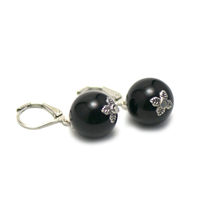 "Boucle d'oreille Onyx , "" perle ronde 14 mm """