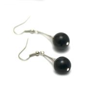"boucle d'oreille onyx , création ""support lustre - perle ronde 12 mm """
