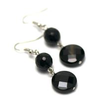 """boucle d'oreille onyx , """" perle palet ronde facetté - ronde facettée 10 mm """""""