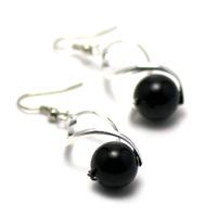 """Boucle d'oreille onyx , création-support """"cage vague argenté"""" - perle ronde 12 mm """""""