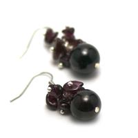"""boucle d'oreille grenat , """" grappe de raisin-perle ronde 13 mm"""""""
