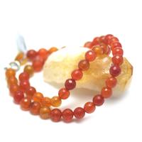 """collier cornaline , """" perle ronde facettée 8 mm """""""