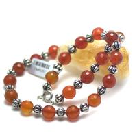 """collier cornaline , """"perle ronde facettée 10 mm - perle argentée """""""