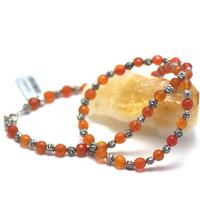 """collier cornaline , """" perle ronde facettée 6 mm -perle argentée """""""