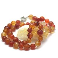 """collier long cornaline , """" perle ronde facettée 12 mm - 10 mm"""""""