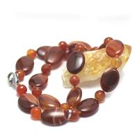 """collier long cornaline , """" perle palet oval - perle ronde facettée 10 mm """""""
