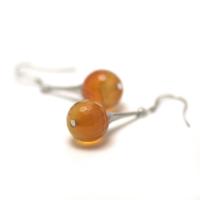 """boucle d'oreille cornaline , """" lustre - perle ronde facettée 12 mm """""""