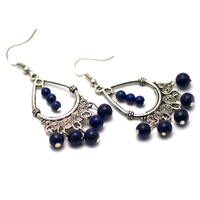 """boucle d'oreille lapis lazuli , création """" chandelier ronde 6 mm - 4 mm """""""