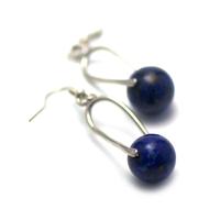 "boucle d'oreille lapis lazuli , création "" support cage - perle ronde 12 mm """