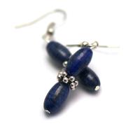 """boucle d'oreille lapis lazuli , """" double olives - perle argentée"""""""