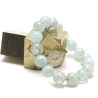 """Bracelet aigue marine ,  """" perle ronde 12 mm """""""