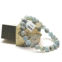 """bracelet aigue-marine , """" perle ronde 8 mm """""""