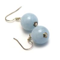 """boucle d'oreille aigue-marine , """" perle ronde 13 mm """""""
