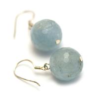 """boucle d'oreille aigue-marine, """" perle ronde facettée 14 mm """""""