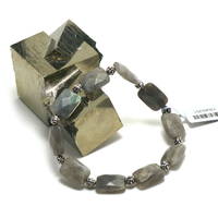 bracelet labradorite , ' rectangle facettée - perle argentée ""