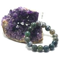 """bracelet agate mousse , """" perle ronde 12 mm """""""
