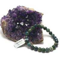 """bracelet agate mousse , """" perle ronde facettée 8 mm """""""