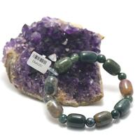 "bracelet agate mousse , ""galet cylindre - perle ronde 8 mm """