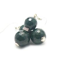 """boucle d'oreille agate mousse , """" ronde facettée 12 - 10 mm -perle argentée"""""""