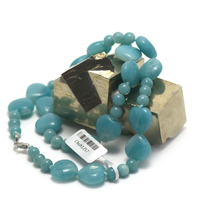 """collier amazonite , """" double coeurs - triple rondes 6 mm"""""""