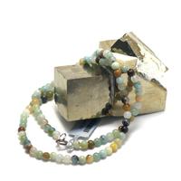 "collier amazonite brut , "" perle ronde 4 mm"""