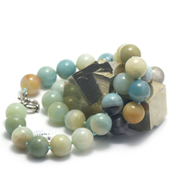 "collier mi-long amazonite brut , "" perle ronde 14 mm """