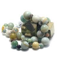 "collier mi-long amazonite brut , "" perle ronde 14-16-18-20 / 8 mm"""