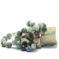"collier amazonite brut , "" perle ronde facettée 10 mm """