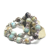"collier amazonite brut , "" perles rondes 14 mm - perles argentées"""