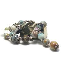 """collier amazonite brut , création exclusive """" perles rondes - perles argentées"""""""