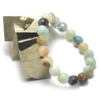 """bracelet amazonite brut , """" perle ronde facettée 10 mm """""""